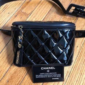 Authentic CHANEL patent black bum bag fanny pack